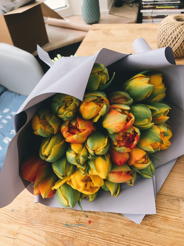 bouquet tulipe orange jaune